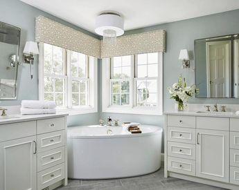Bay Window Shades Cornice Box Custom Fabric custom length width Navy white kitchen cornice faux roman shade blue upholstered cornice trellis