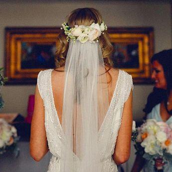 "Christy Doramus on Instagram: ""#tbt to my wedding day & 👰👑 #bridalcrown #flowercrown #ranunculus #jennypackhambride #lilyofthevalley 📷by @darkroux"""