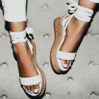 Women Lace-up Sandals Summer Peep Toe Wedge Heel Shoes