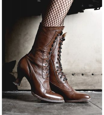 01b312725bf8 Modern Victorian Lace Up Leather Boots in Cognac Oak Tree Farms