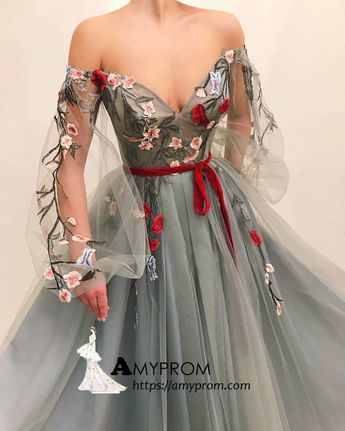 566d7547130 Chic Off-the-shoulder Boho Long Prom Dress With Applique Prom Dress  Gorgeous Evening