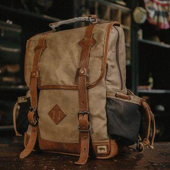 Dakota Vintage Commuter Backpack - Waxed Canvas   Leather - Field Khaki 26b14006e3d91