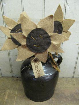 Primitive Hand Made Sunflowers on Stem Set of 3