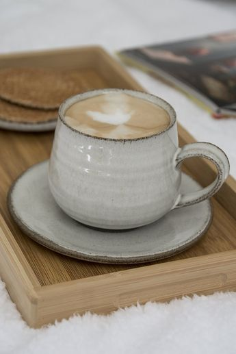 White Cappuccino Cup and Saucer, 11 fl. oz