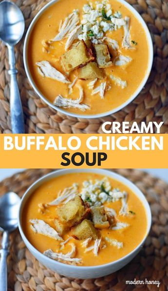 Creamy Buffalo Chicken Soup. All of the flavor of chicken wings in one soup. A tangy, creamy, and spicy buffalo chicken soup. www.modernhoney.com