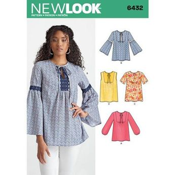6432 New Look Blouses Sewing Pattern Sizes 8-20 Sleeve, Trim, and Yoke Variations Makes Blouses Only