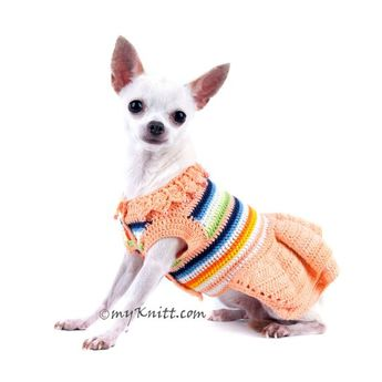 f943d8d40a7e Peach Dog Dress Handmade Crochet Lace Cotton with Pearls Dog Designer  Clothes DF40 by Myknitt -
