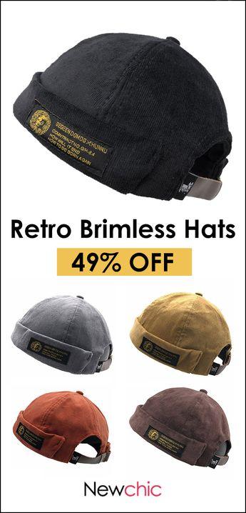 [49%off]Men Women Couples Adjustable Solid Corduroy Velvet Brimless Hats Retro Vogue Crimping Bucket Cap #cap #style #retro #vintage