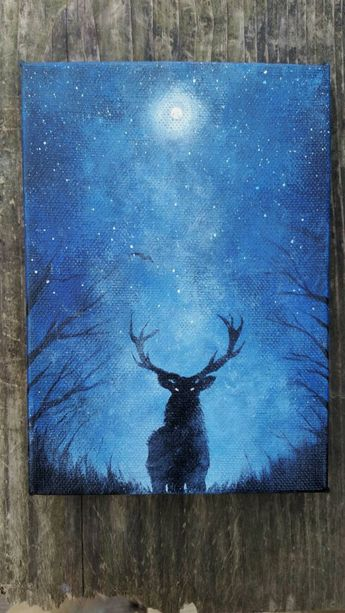 Original Deer Painting | Galaxy Canvas Painting | Space Canvas Painting | Mini Canvas | Hippie Painting | Small Original Painting