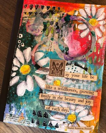 """Shawn Petite on Instagram: """"Today CT member Shannon Beesley @mzbeez5 creates this beautiful art journal cover. Come on over to watch her put all of the layers…"""""""