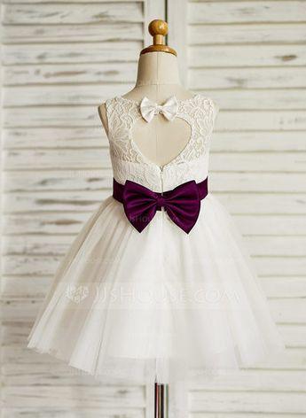 A-Line/Princess Jewel Knee-length Sash Bow(s) Back Hole Tulle Lace Sleeveless Flower Girl Dress Flower Girl Dress