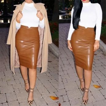 2018 Sexy Women Leather Skirt High Waist Slim Party Pencil Skirt vestidos Style High Waist Sexy Skirts Clothes For Ladies
