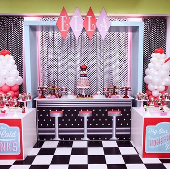 "One Inspired Party on Instagram: ""Welcome to Ella's diner where every treat is a sweet as she is. Loved this party with @bambinisoiree @cakesbyrc @opopsbyangie @nicksandmay…"""