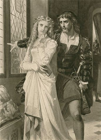"""Hugues Merle (French, 1823-1881), """"Hamlet and Ophelia"""""""