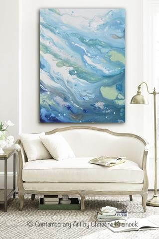 ORIGINAL Art Modern Blue Abstract Painting Aqua White Grey Silver Leaf Marbled Coastal Decor Wall Art