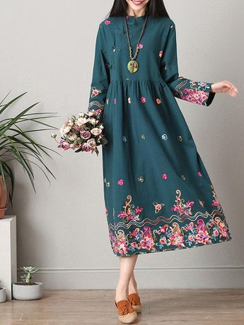 Vintage Ethnic Printed Frog Buttons Women Dresses