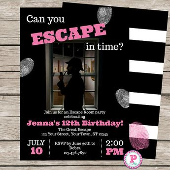 girl s escape room party invitation printable or printed w