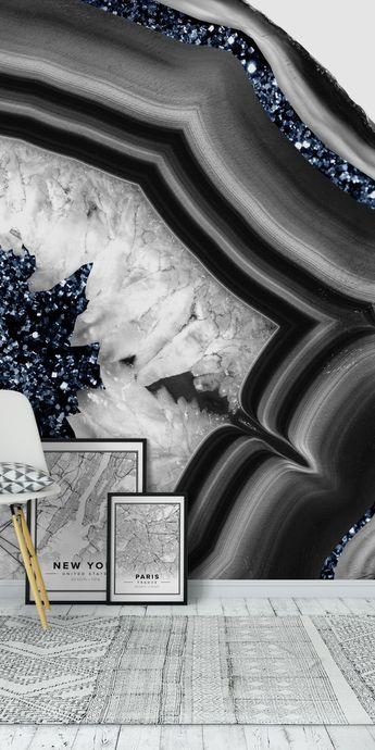 GrayWhite Agate Blue Glitter 1 Wall mural