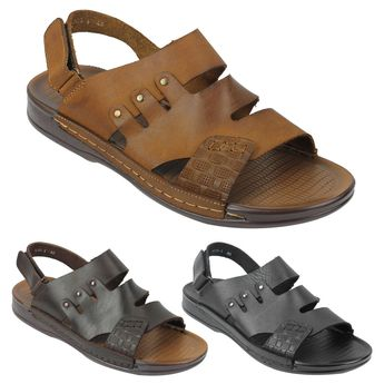 Mens Real Leather Sandals Adjustable Strap Slip on Beach Sliders Size 6 7 8 9 10