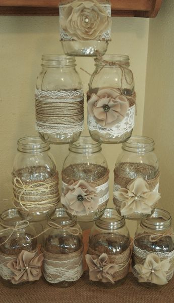 Set of 10 Mason Jar Sleeves, Burlap Wedding Decorations, Rustic Wedding Centerpieces, Burlap and Lace, Jar not Included