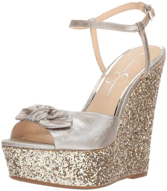 656e9db97ab Jessica Simpson Women s Amella Wedge Sandal. Sexy shimmer metallic wedge  Jessica Simpson is famous for