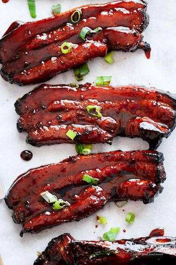 Sticky Chinese Barbecue Pork Belly (Char Siu), is one of the most popular pork dishes in Chinese/Cantonese cuisineand one of the most ordered dishes in restaurants. My addiction to this Sticky Chinese Barbecue Pork Belly