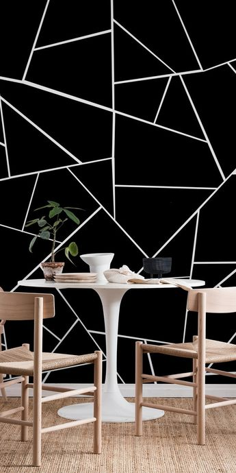 Black White Geometric Glam 3 Wall Mural / Wallpaper Abstract
