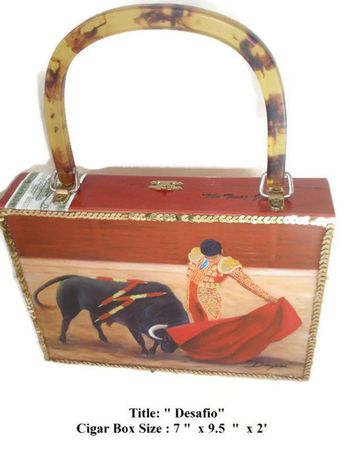Desafio Painting in Exclusive Cigar Box Purse w  Bamboo Handle . Five  Handbags to Choose bf6f17f2c664a