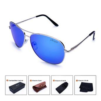 623df3a6f13 Polarized Aviator Sunglasses For Men Women Metal Frame UV Protection Sun  Glasses - Silver   Blue