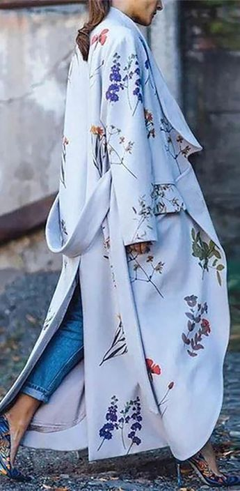 Hot Sale!Floral Gown Long Sleeve Fashionable Outwear Coat