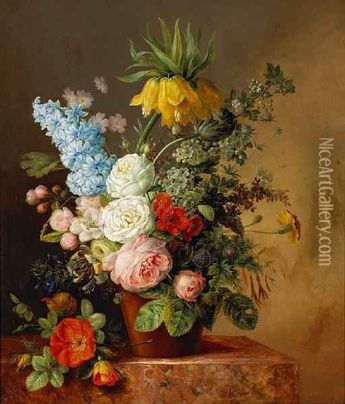 A Still Life Of Roses, A Hyacinth, Afritillaria And Other Flowers In A Terra Cotta Pot by Willem Hekking (1796-1862)