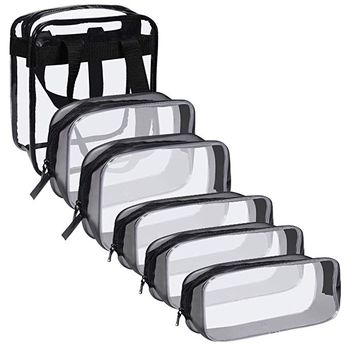 Clear Makeup Bag, Anezus 6Pcs TSA Approved Toiletry Bag Clear Cosmetic Travel Bag with Zipper Quart Size Clear Pouch for Air Travel Toiletries Gym Bathroom Organization Review