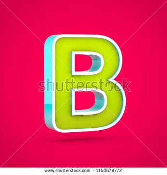 Juicy letter B uppercase. 3D render of colorful lime and blue font isolated on hot pink background.