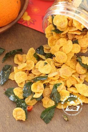 Cornflake snack with curry leaves, chilies and salted egg yolk