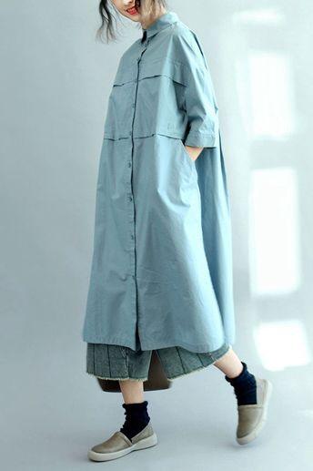 01b15fff25e311 Blue Long Cotton Shirts for Women 3/4 Sleeve Loose Shirt C2071 -  FantasyLinen