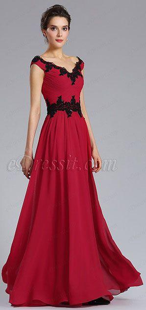 66692ea3ee39c eDressit Cap Sleeve V-Neck Red Evening Formal Dress (021831