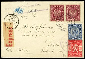 Czechoslovakia Official stamps, Scott OL2 - 1918 (6 Nov) cover sent EXPRESS from Ljubljana to Prague, franked with Austrian 10h (2) and 60h, tied by cds, arrived 10 November and delivered by Scout Mail the next day to the Honorable Dr. Josef Scheiner, commander of the Czech Sokols and official in charge of State Defense (effectively head of state at that time), Scout stamp added and appropriately canceled, v.f. and outstanding Scout Mail cover, signed Mrnak and Gilbert