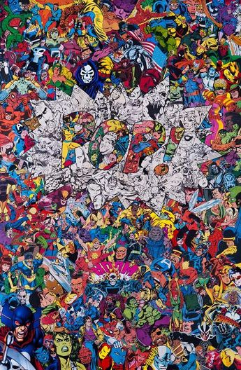 Collages à base d'accumulation de super héros par Mr Garcin