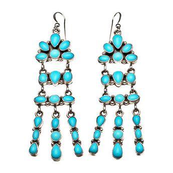 Boucles d'oreilles Navajo, turquoises Sleeping Beauty sur argent | Harpo Paris #bijouxamérindiens #bouclesdoreilles #turquoise #navajo