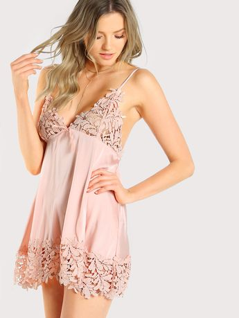 d0400f656 Shop Guipure Lace Panel Nightdress online. SheIn offers Guipure Lace Panel  Nightdress   more to