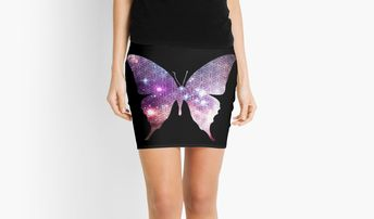 'The Sacred Nebula Butterfly, Sacred Geometry Space Art' Mini Skirt by ChaosEmporium