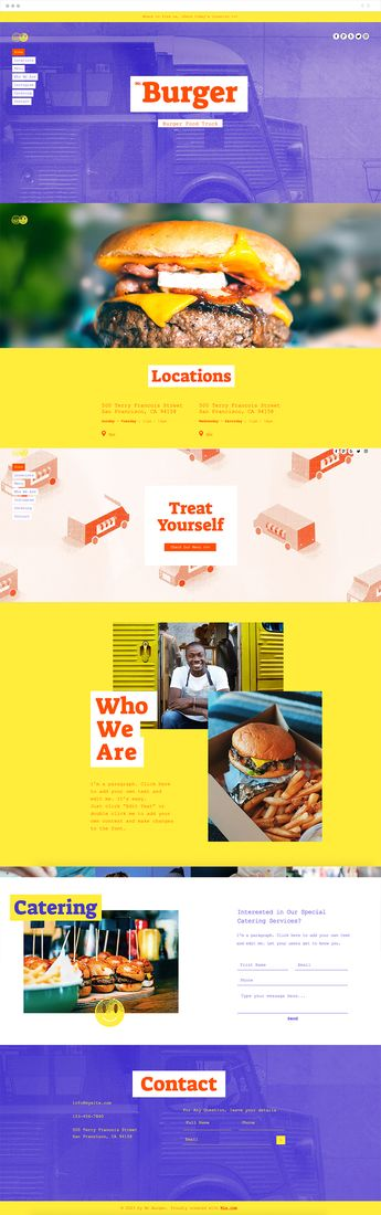 Your culinary business is always on the go and this food-centric template is a great choice for busy owners who want a cool online presence. Let customers know where and when they can find their favorite food, share details about your business and menu, and seamlessly sync your Instagram account to spread the mouth-watering goodness.