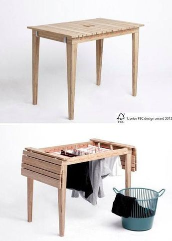 Balcony table transforms into drying rack