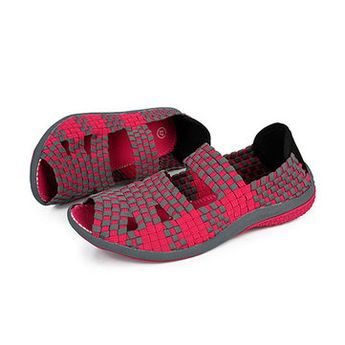 Handmade Knitting Hollow Out Breathable Peep Toe Slip On Platform Shake Shoes