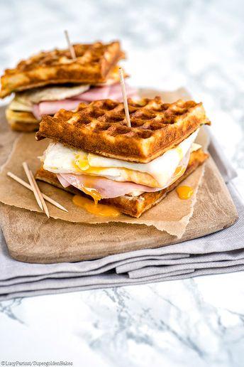 Parmesan waffle, ham, cheese and egg breakfast sandwich