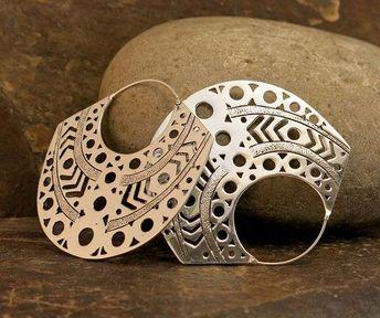 Aztec Large Silver Earrings by Nishiibo on Etsy #AmethystAndSilverBracelet