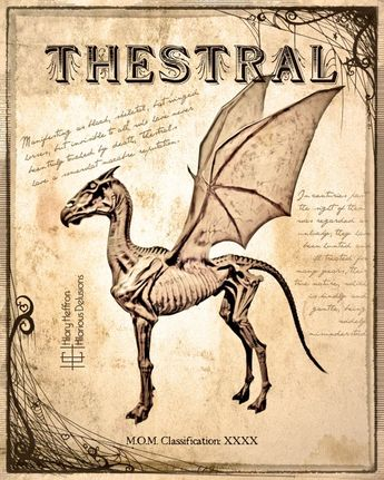 Thestral Fantastic Beasts Book Page, Digital Painting Print