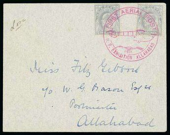 """India 1911 Cover addressed c/o Postmaster, Allahabad, bearing 3p slate-grey (2) tied by superb violet """"FIRST AERIAL POST / 1911 / U.P EXHIBITION A..."""