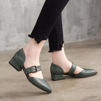 Summer Leather Mid Heels Coffee Sandals Women Shoes X1162