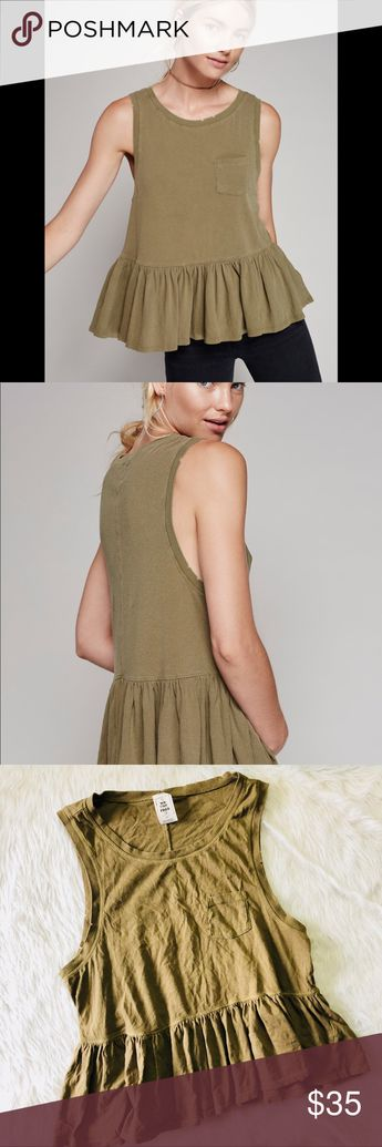 5e62cb25e32026 Free People Olive Green Continental Peplum top This top is in excellent  condition! Only worn